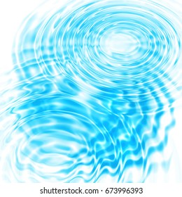 Illustration with abstract blue circular water ripples