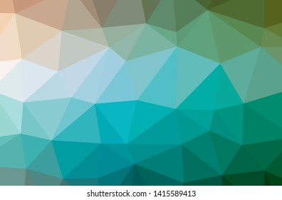 Illustration of abstract Blue And Green horizontal low poly background. Beautiful polygon design pattern. Useful for your needs.