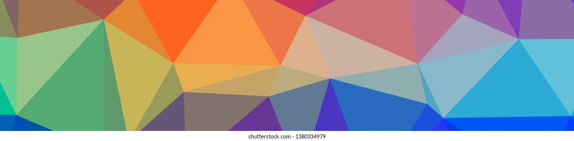 Illustration of abstract Blue, Green, Orange, Pink, Red banner low poly background. Beautiful polygon design pattern.