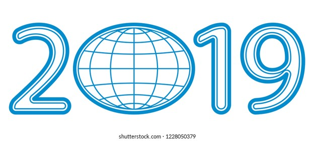 Illustration of the abstract contour globe and 2019 New Year numeration