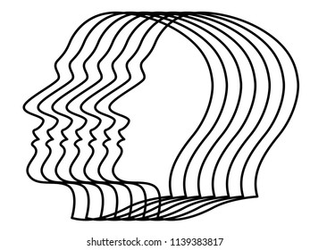 Illustration of the abstract contour human profile heads