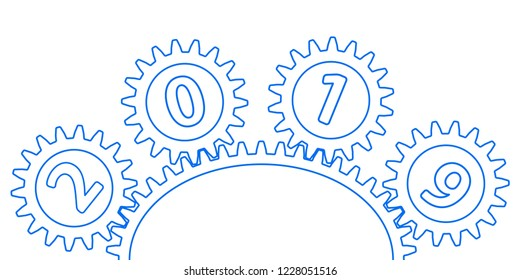Illustration of the abstract gear and 2019 New Year number
