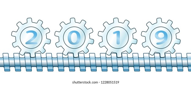 Illustration of the abstract gears and 2019 New Year number