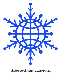 Illustration of the abstract globe snowflake icon