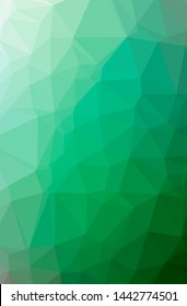 Illustration of abstract Green vertical low poly background. Beautiful polygon design pattern. Useful for your needs.