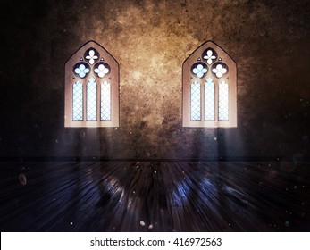 Illustration of an abstract grunge interior with gothic window. 3d Illustration, not 3d render.