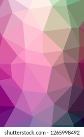 Illustration of abstract low poly pink vertical background.