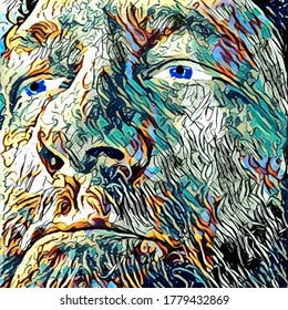 Illustration. Abstract mans face. 3D rendering