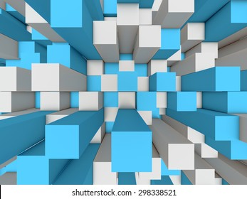 Illustration of abstract mosaic three-dimensional grey and blue background