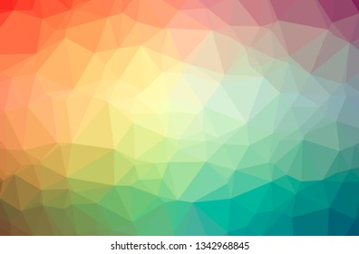 Illustration of abstract Orange, Pink, Red horizontal low poly background. Beautiful polygon design pattern.