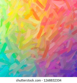 Illustration of abstract Orange, Yellow, Green, Purple Oil Paint With Big Brush Square background.