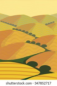 Illustration of Abstracted Yellow Hills in Baja California Coastline