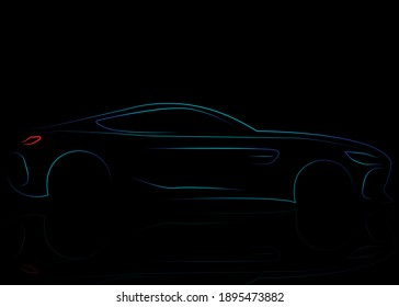 Illustration abstraction of an EV Car isolated on black background