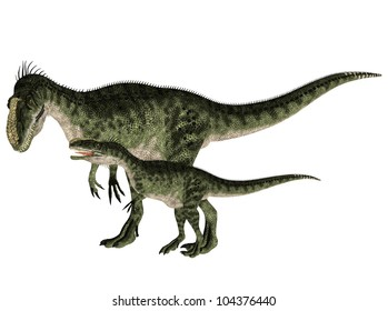 Illustration of an adult and a young Monolophosaurus (dinosaur species) isolated on a white background