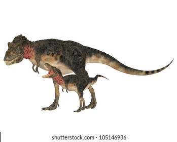 Illustration of an adult and a young Tarbosaurus (dinosaur species) isolated on a white background