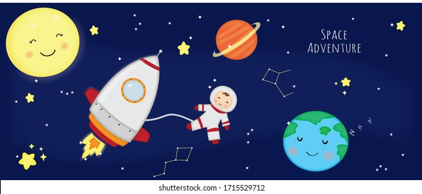 illustration adventure in space for kids
