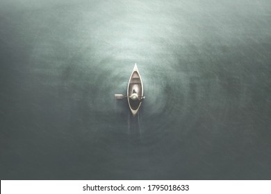 illustration of aerial view of man paddling on a canoe in the water, minimal summer sport concept