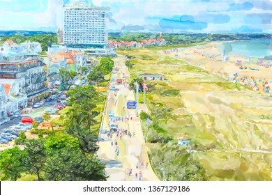 Illustration of Aerial view over Baltic sea town Warnemunde with its houses promenade and beach