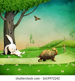 Illustration of Aesop's fable about  Turtle and  Rabbit, which competed which of them is faster