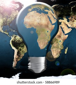 Illustration Africa in lightbulb with wold map background
