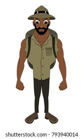 Illustration of an African American adventurer in khaki shirt and hat, isolated on a white background