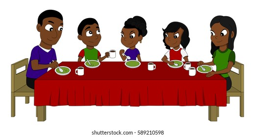 Illustration of African American family of five members dining at the dinner table, eating soup, isolated on white background