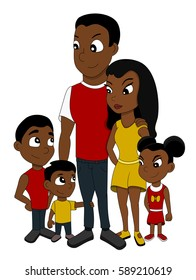 Illustration of African American family of five members, father, mother, two sons and a daughter with a teddy bear, isolated on a white background