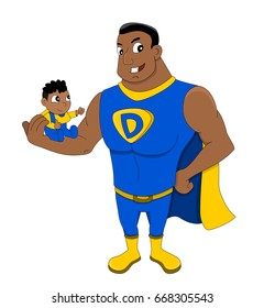 Illustration of African American superhero dad holding a child, isolated on a white background