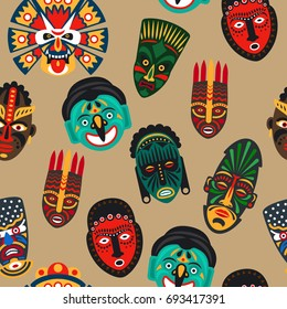 illustration african tribal colorful mask seamless pattern