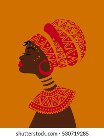 Illustration of African woman wearing a head wrap.