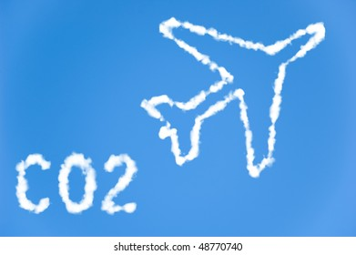 An illustration of an airplane with the text CO2 made up of white puffy clouds to represent environmental issues or carbon footprint.