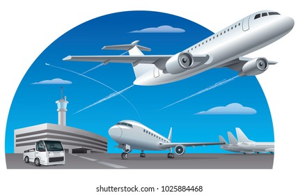illustration of of airport field