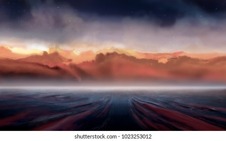 Illustration of alien planet with galaxy background, illustration painting, digital art.