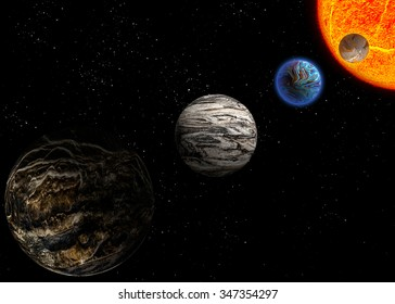 Illustration of a alien planets.