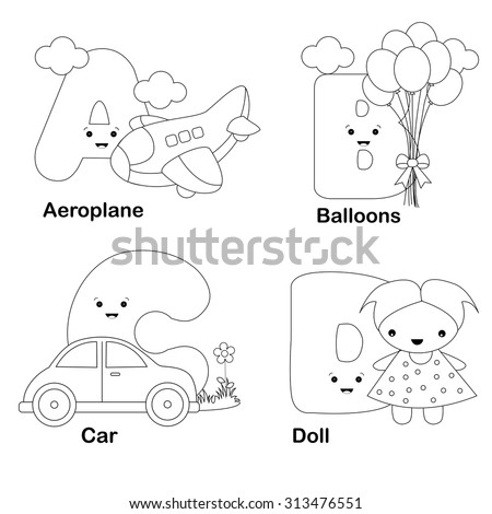 Illustration Alphabet Coloring Book Letters A Stock Illustration