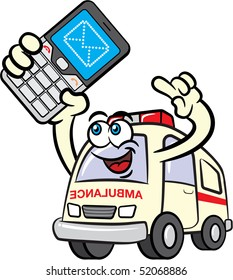 Illustration of ambulance cartoon mascot character sending a text message using a mobile phone