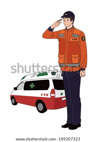 illustration of an ambulance driver