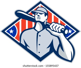 Illustration of a american baseball player batter hitter holding bat on shoulder set inside diamond shape with stars and stripes done in retro style isolated on white background.