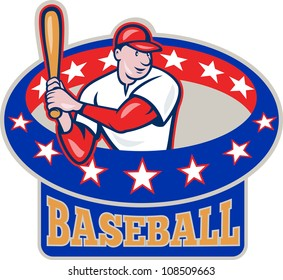 Illustration of a american baseball player batting cartoon style isolated on white with ring and stars around  and text wording baseball
