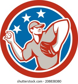 Illustration of a american baseball player pitcher outfilelder throwing ball with stars in the background done in retro style.