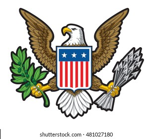 Illustration of the American Bold Eagle National Symbol. The design has two layers of shadow to give the illustration more depth. Editorial design