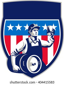 Illustration of an American builder construction worker wearing hardhat holding a beer mug toasting while carrying beer keg set inside crest shield with USA stars and stripes done in retro style.