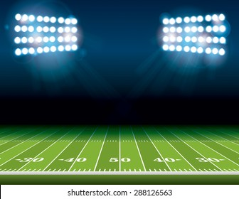 An illustration of an American Football field with bright stadium lights shining on it.