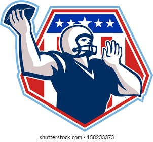 Illustration of an american football gridiron quarterback player throwing ball facing side set inside crest shield with stars and stripes flag done in retro style.