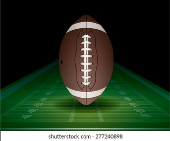 An illustration of an American Football on a realistic textured field.