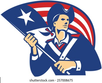 Illustration of an American patriot holding stars and stripes flag on isolated white background done in retro style.