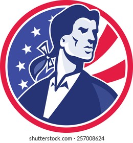 Illustration of an American Patriot Minuteman looking up with American stars and stripes flag in the background set inside circle done in retro style.
