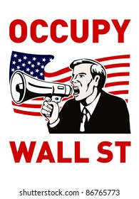 illustration of American people protesting bullhorn that also dramatizes support of the Occupy Wall Street & Occupy America protest movement