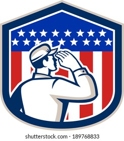 Illustration of an American soldier serviceman saluting USA stars and stripes flag viewed from rear set inside shield crest shape, done in retro style.
