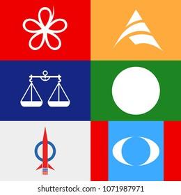 Illustration of among the political party symbol candidates - Barisan Nasional, PAS, PAN, DAP, Pakatan Harapan, Peribumi Bersatu, Keadilan & Amanah for Malaysian 14th General Election on 9 May 2018